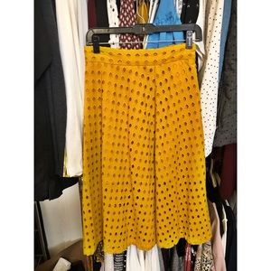 Yellow Gold Eyelet Midi or A-Line Skirt